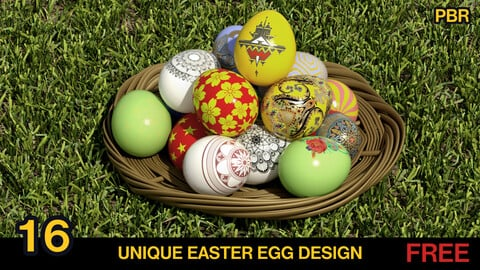16 Easter EGGs collection [PBR texured] 4k