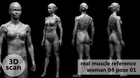 3D scan real muscleanatomy Woman04 pose 01