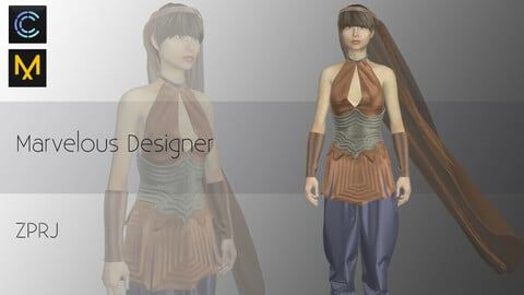 Woman Costume- Top- coreset-Wristband- pants/Marvelous Designer and CLO3d Projects