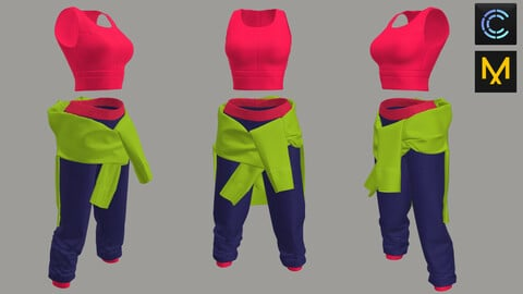 Woman Clothes set-Top-Pants-blouse -Marvelous Designer and CLO3d Projects(ZPAC)+ OBJ