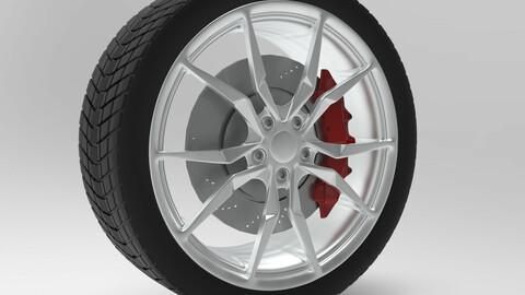 Rim with tiers and brakes Lamborghini wheel