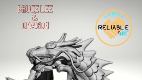 Bruce Lee & Dragon Digital STL File - 3D Printing Model Active