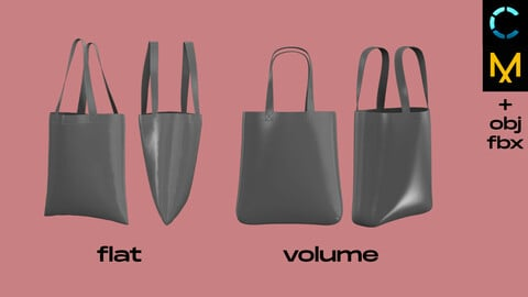 2 tote bags (eco, handbag, canvas, shopping). Marvelous Designer, Clo 3D project + obj fbx