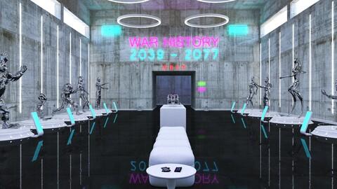 Cyberpunk Museum Interior futuristic