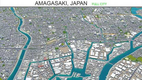 Amagasaki city Japan 3d model 20km
