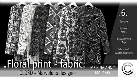 6 .Floral print - Fabric patterns. CLO3D + MD