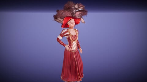 Renaissance red dress with feathers