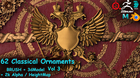 Fred's 62 Ornament Brushes&3dModels&Alphas Volume 3