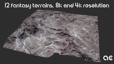 Fantasy Terrains Collection | 12 Terrains at 8k resolution, Height map+Texture+Mesh