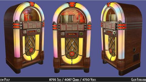 Classic Vintage Wooden Jukebox Rockola Low-poly 3D model