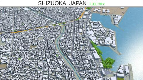 Shizuoka city Japan 3d model 90km