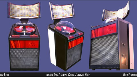Vintage Retro Rockola Jukebox model 2 Low-poly 3D model