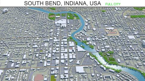 South Bend city Indiana USA 3d model 25km