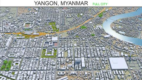 Yangon city Myanmar 3d model 60km