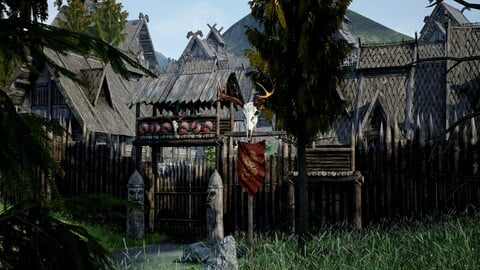 Modular Medieval Fantasy North Settlement and Props- Unreal Engine 3D Asset pack - Interior included