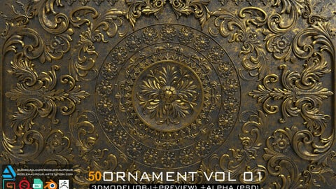50 ornament brushers and alpha + 3dmodel