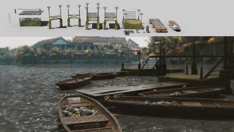 Boardwalk pier jetty floating dock kitbash for river mooring