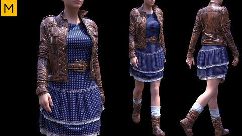 Womens clothing. Avatar genesis 8 Female. Marvelous Designer, Clo3d project + OBJ/FBX files(16)