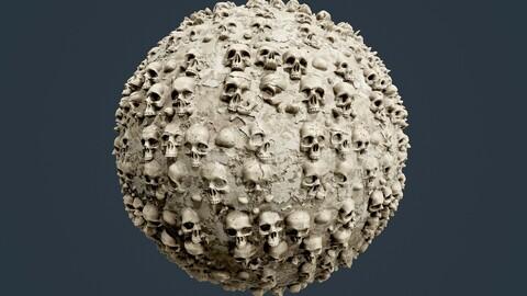Skulls Bones Horror Seamless PBR Texture 13