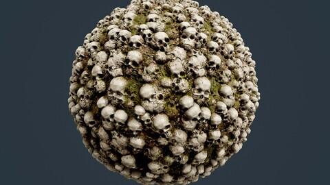 Skulls Bones Horror Seamless PBR Texture 21
