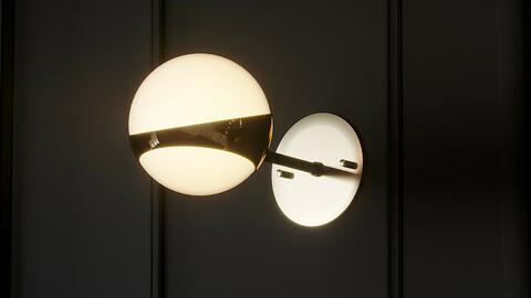 Pair of Brass and Opaline Glass Italian Sconces by Stilnovo