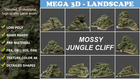 Low poly Mossy Jungle Cliff 210323