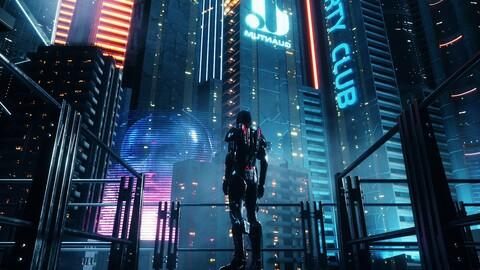 C4D Octane render CBD cyberpunk city SCIFI CITY future city hud neo japan Manhattan robot building
