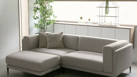 DK010 3.5-person 3-seat full cover gray fabric water-repellent sofa