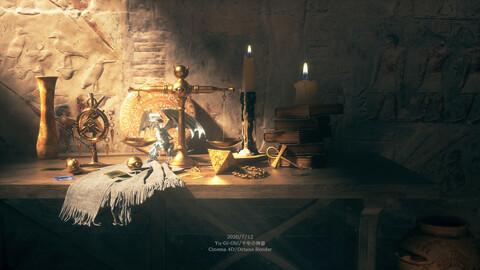 C4D Octane render ゆうぎおう,Yu-Gi-Oh! Egypt Blue Eyed White Dragon Pharaoh Burial chamber