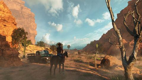 C4D Octane render Canyon Cowboy Scene Canyon Mountains