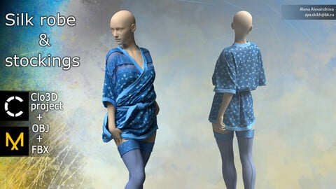 Silk robe and stockings. Clo3D project, Marvelous Designer.