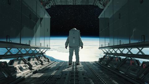 C4D Octane render Space astronaut scene