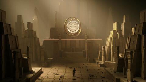 C4D Octane render Shrine Scenes Monuments and wonders Adventurer exploration Robber tomb Raider