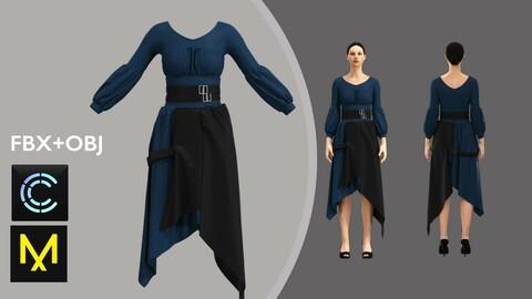 Woman Dress. Marvelous Designer/Clo3d project + OBJ + FBX