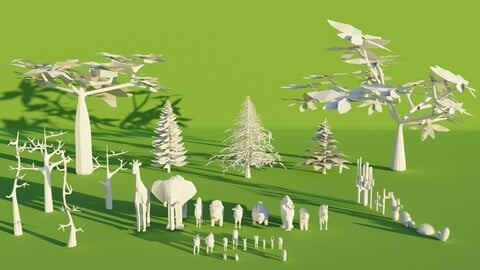 Low Poly Fully Rigged Nature Pack with 23 Unique Animals, 9 Trees, 12 Cactus. Game/Animation Ready!