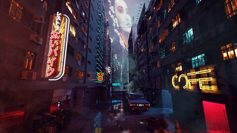C4D octane render Cyberpunk city street  Skyscrapers scene model japan hongkong neon Slum