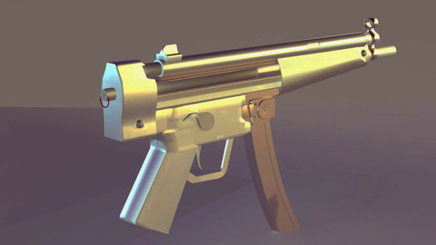 GUN HKSP5  - Model and Textures - Low-poly 3D model