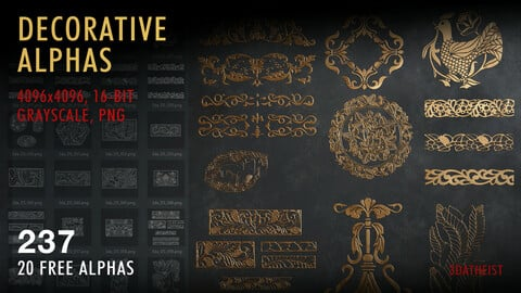 237 Decorative Alphas (20 free alphas)