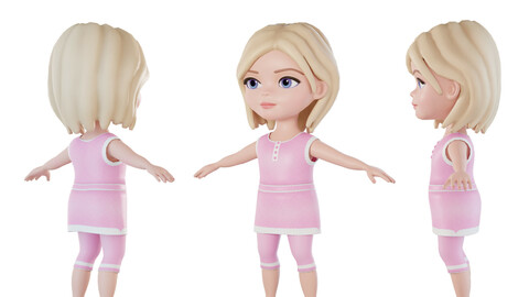 Cartoon girl 3d character