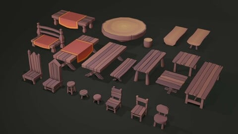 Stylized Low Poly Wooden Tables and Chairs Pack 01