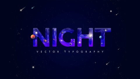 Night. Typography and vector elements