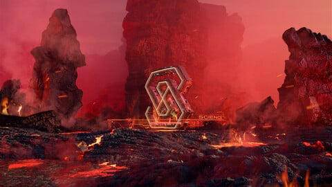 C4D Octane Volcano burning logo Magma lava moutain Fire Finalized version