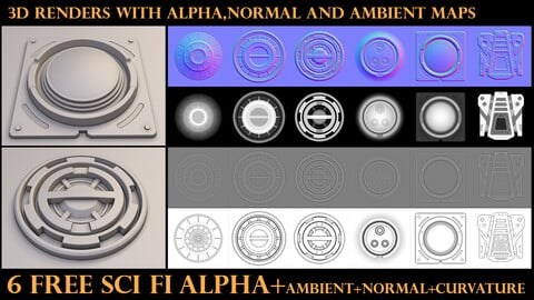 6 free sci fi alpha+ambient+normal+curvature