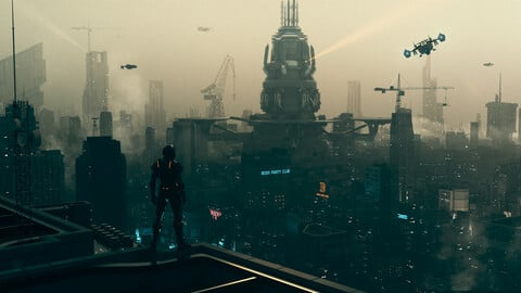 C4D Octane render Cyberpunk city CBD sea river building Urban agglomeration