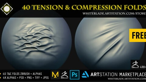 Tension & Compression Fold Brushes + 4K Alphas - ZBrush 4R8+ FREE