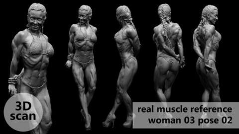 3D scan real muscleanatomy Woman03 pose 02