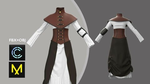 Female Fantasy Outfit. Marvelous Designer/Clo3d project + OBJ + FBX