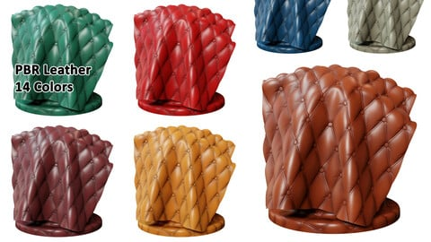 Chesterfield Leather | PBR | 14 Colors | 4K | PNG | SBSAR