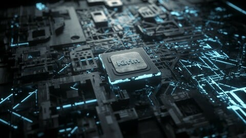 C4D Octane CPU chip core capacitance Scifi Circuit board