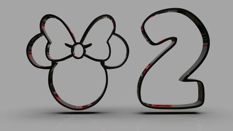 Minnie and Number 2 Cookie Cutter